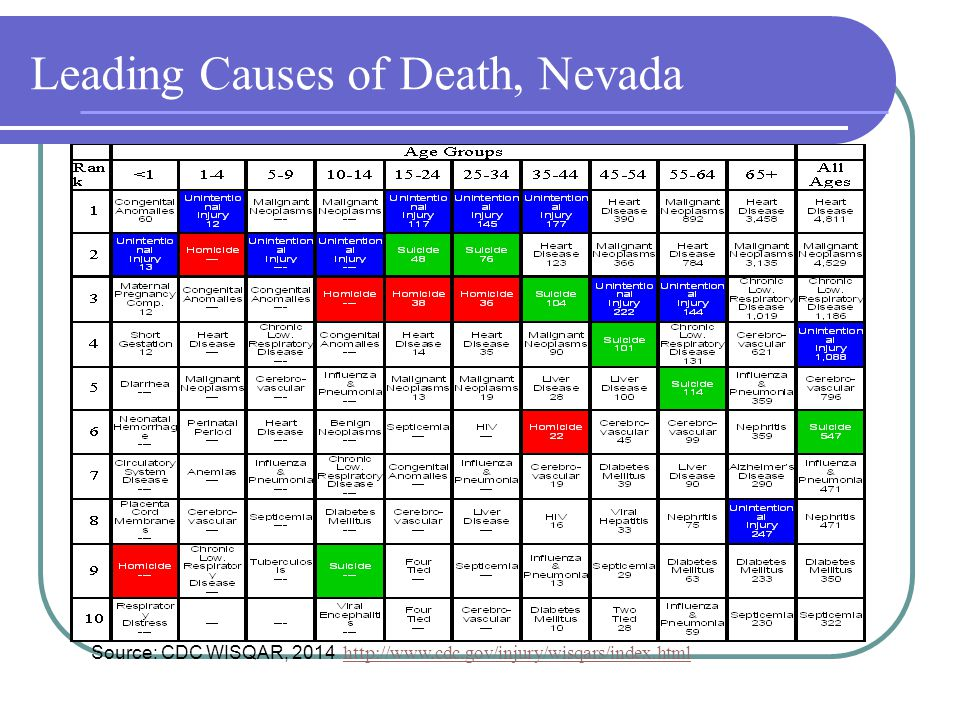 Leading Causes of Death, Nevada Source: CDC WISQAR, 2014 http://www.cdc.gov/injury/wisqars/index.html http://www.cdc.gov/injury/wisqars/index.html NV Suicide Rate: 19/100,000 (vs.