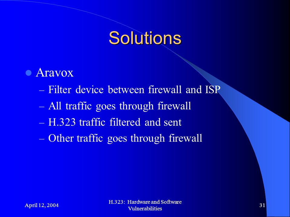 April 12, 2004 H.323: Hardware and Software Vulnerabilities 31 Solutions Aravox – Filter device between firewall and ISP – All traffic goes through fi
