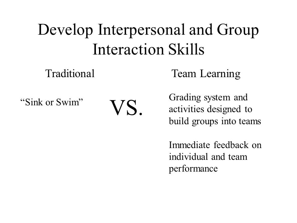 """Traditional """"Sink or Swim"""" Team Learning Grading system and activities designed to build groups into teams Immediate feedback on individual and team p"""