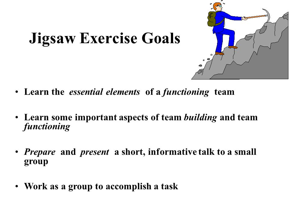 Learn the essential elements of a functioning team Learn some important aspects of team building and team functioning Prepare and present a short, inf