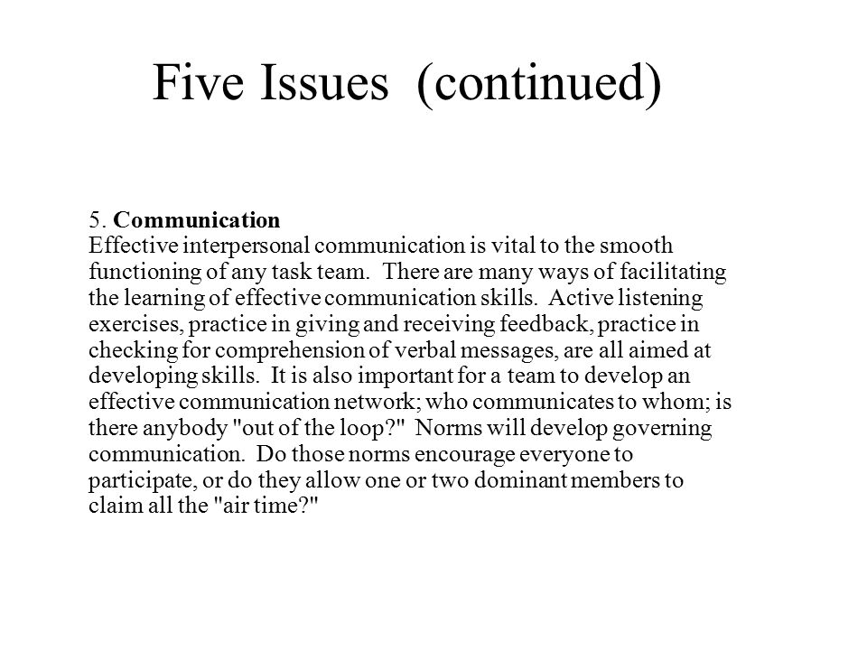 Five Issues (continued) 5. Communication Effective interpersonal communication is vital to the smooth functioning of any task team. There are many way