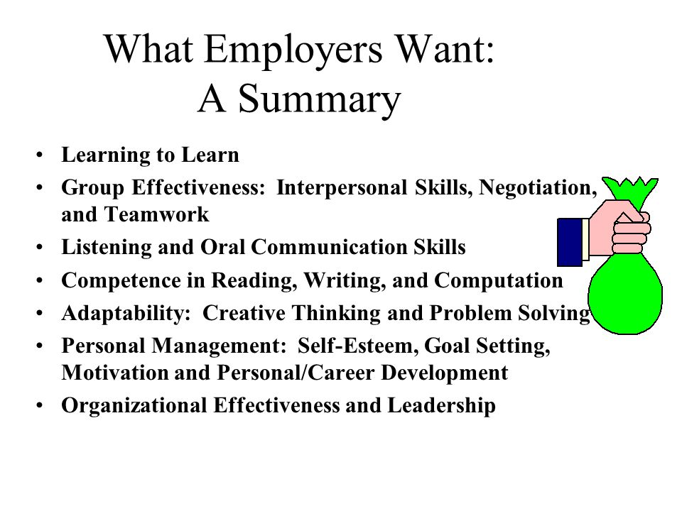 What Employers Want: A Summary Learning to Learn Group Effectiveness: Interpersonal Skills, Negotiation, and Teamwork Listening and Oral Communication