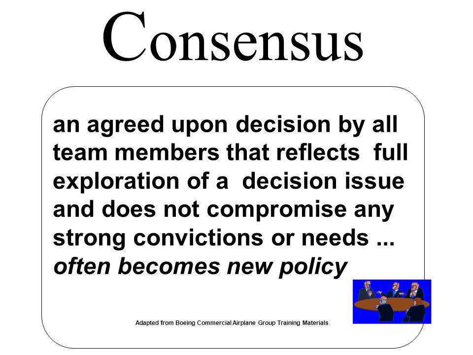 an agreed upon decision by all team members that reflects full exploration of a decision issue and does not compromise any strong convictions or needs
