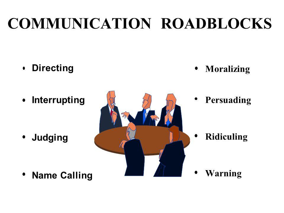 COMMUNICATION ROADBLOCKS Directing Interrupting Judging Name Calling Moralizing Persuading Ridiculing Warning