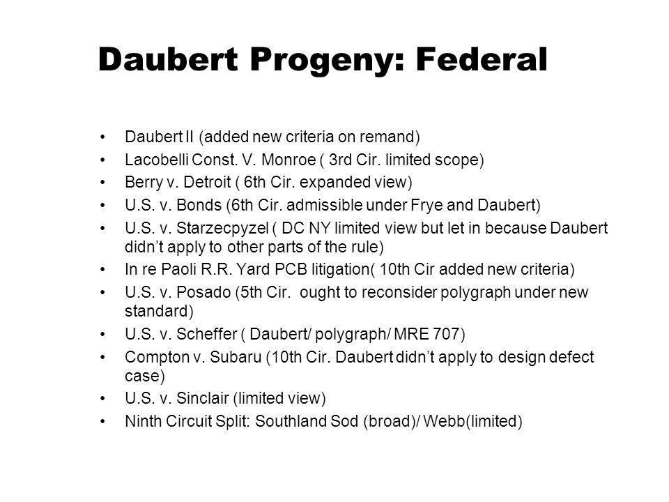 Daubert Progeny: Federal Daubert II (added new criteria on remand) Lacobelli Const. V. Monroe ( 3rd Cir. limited scope) Berry v. Detroit ( 6th Cir. ex