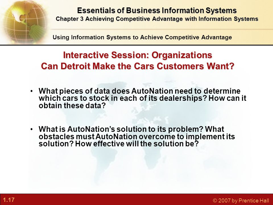 1.17 © 2007 by Prentice Hall Interactive Session: Organizations Can Detroit Make the Cars Customers Want.