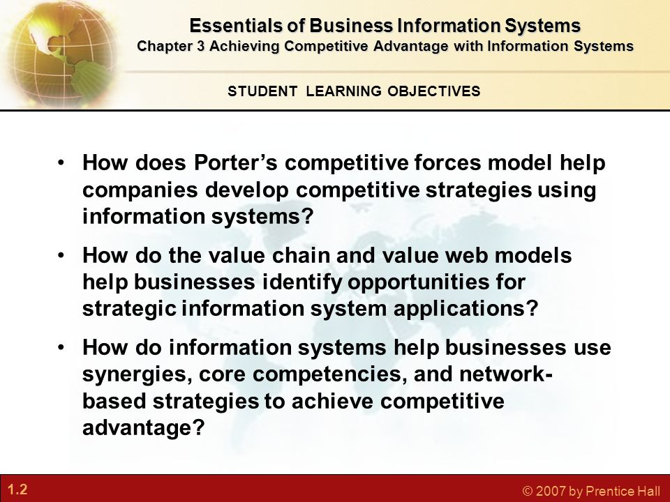 1.2 © 2007 by Prentice Hall STUDENT LEARNING OBJECTIVES Essentials of Business Information Systems Chapter 3 Achieving Competitive Advantage with Information Systems How does Porter's competitive forces model help companies develop competitive strategies using information systems.
