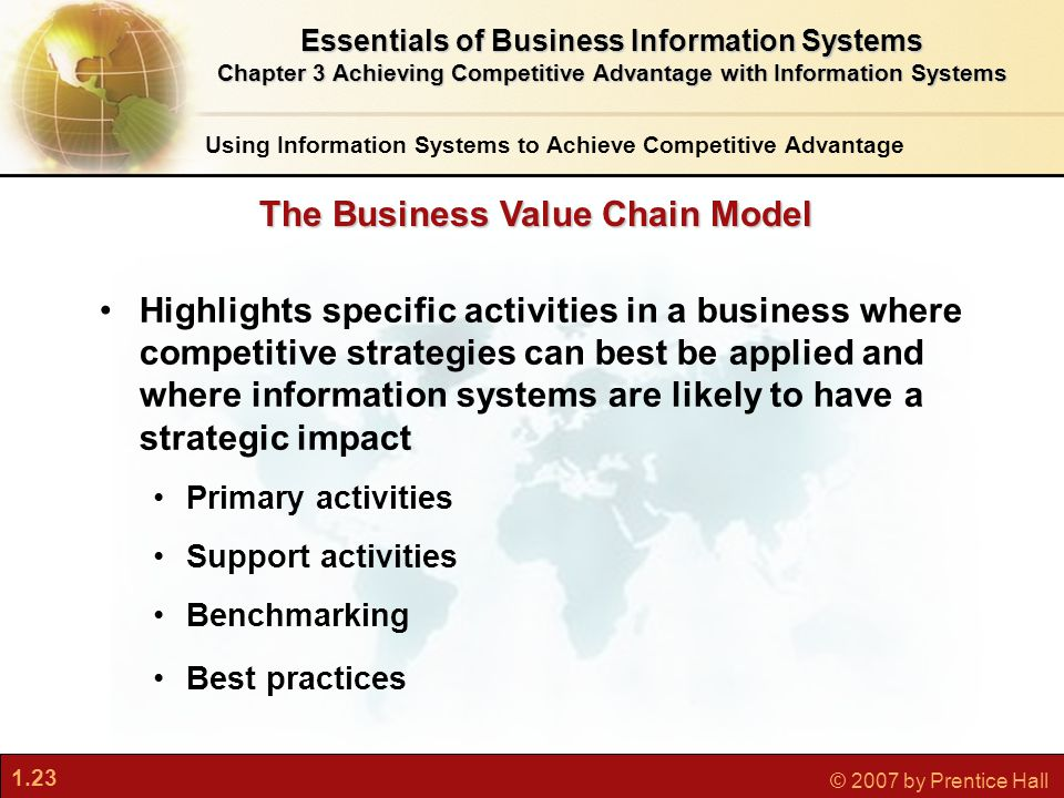 1.23 © 2007 by Prentice Hall Highlights specific activities in a business where competitive strategies can best be applied and where information systems are likely to have a strategic impact Primary activities Support activities Benchmarking Best practices The Business Value Chain Model Using Information Systems to Achieve Competitive Advantage Essentials of Business Information Systems Chapter 3 Achieving Competitive Advantage with Information Systems