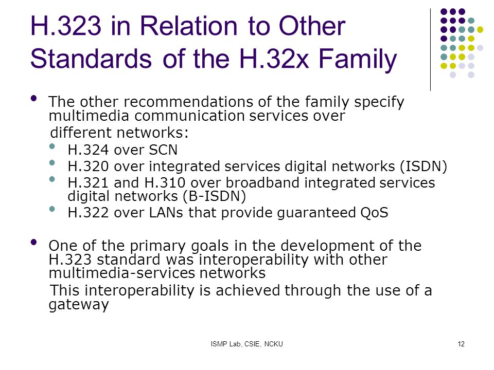 ISMP Lab, CSIE, NCKU12 H.323 in Relation to Other Standards of the H.32x Family The other recommendations of the family specify multimedia communicati