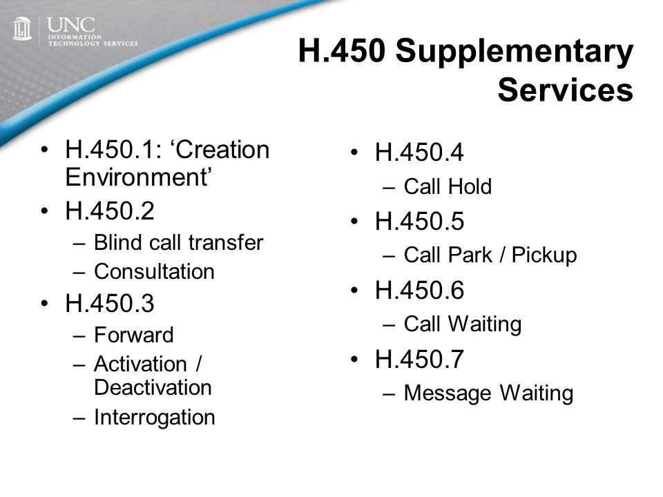 H.450 Supplementary Services H.450.1: 'Creation Environment' H.450.2 –Blind call transfer –Consultation H.450.3 –Forward –Activation / Deactivation –Interrogation H.450.4 –Call Hold H.450.5 –Call Park / Pickup H.450.6 –Call Waiting H.450.7 –Message Waiting