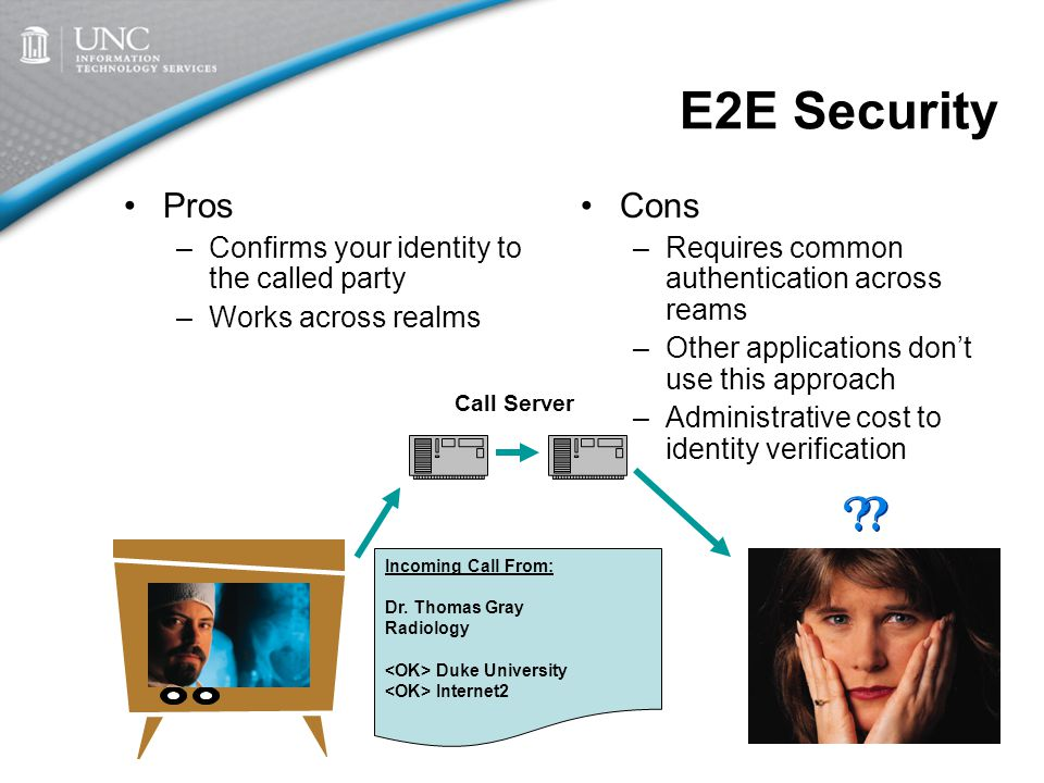 E2E Security Pros –Confirms your identity to the called party –Works across realms Cons –Requires common authentication across reams –Other applications don't use this approach –Administrative cost to identity verification Incoming Call From: Dr.
