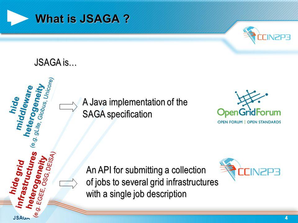 JSAGA4 What is JSAGA . hide grid infrastructuresheterogeneity (e.g.