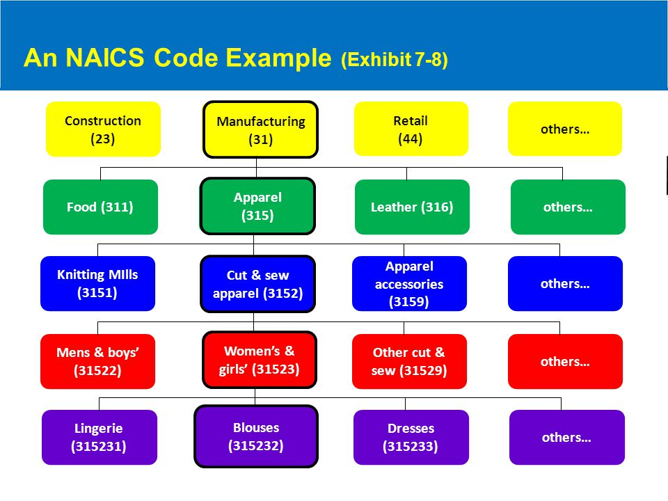 An NAICS Code Example (Exhibit 7-8) Construction (23) others… Retail (44) Manufacturing (31) Food (311)others…Leather (316) Apparel (315) Apparel (315