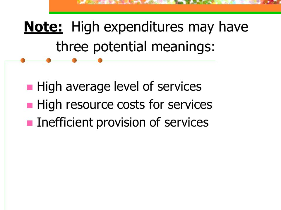 Note: High expenditures may have three potential meanings: High average level of services High resource costs for services Inefficient provision of se