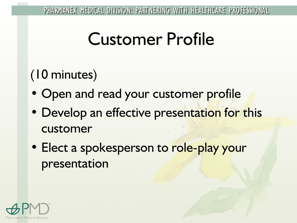 Customer Profile (10 minutes) Open and read your customer profile Develop an effective presentation for this customer Elect a spokesperson to role-play your presentation