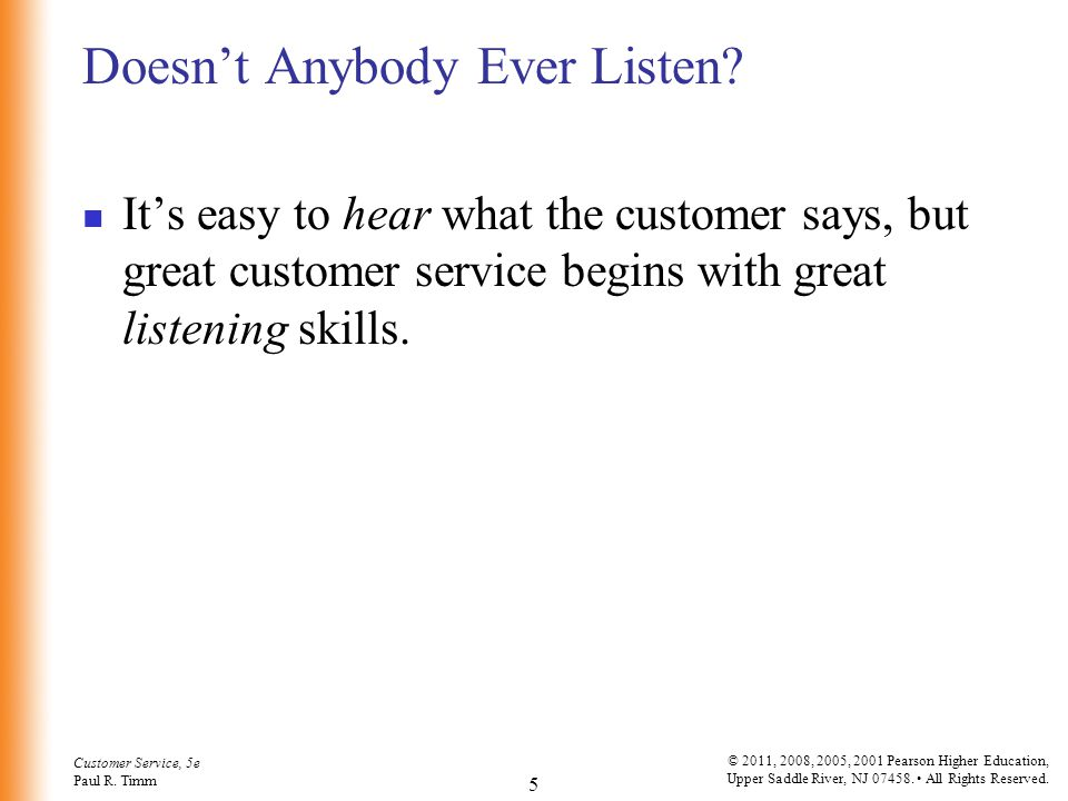 Customer Service, 5e Paul R.