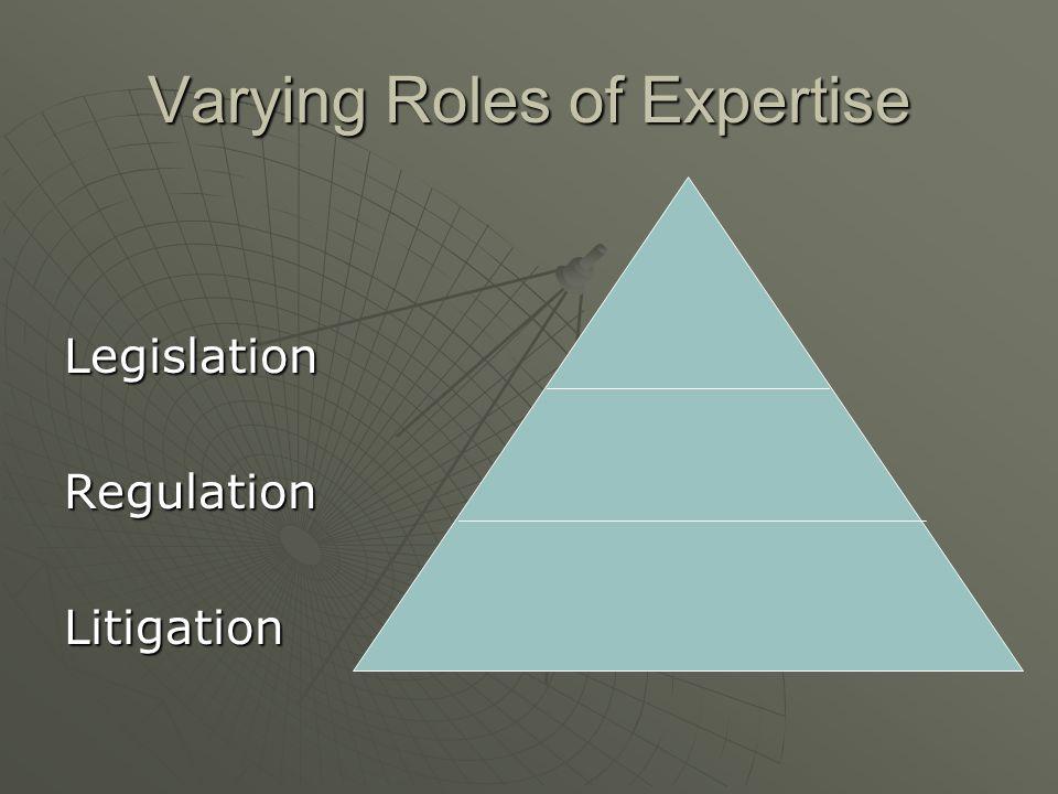 Varying Roles of Expertise LegislationRegulationLitigation