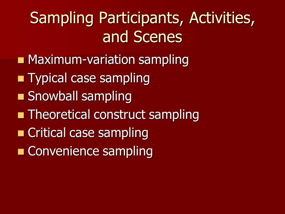 Sampling Participants, Activities, and Scenes Maximum-variation sampling Maximum-variation sampling Typical case sampling Typical case sampling Snowba