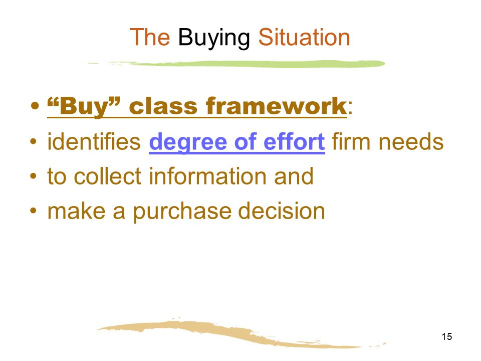 "15 The Buying Situation ""Buy"" class framework : identifies degree of effort firm needs to collect information and make a purchase decision"