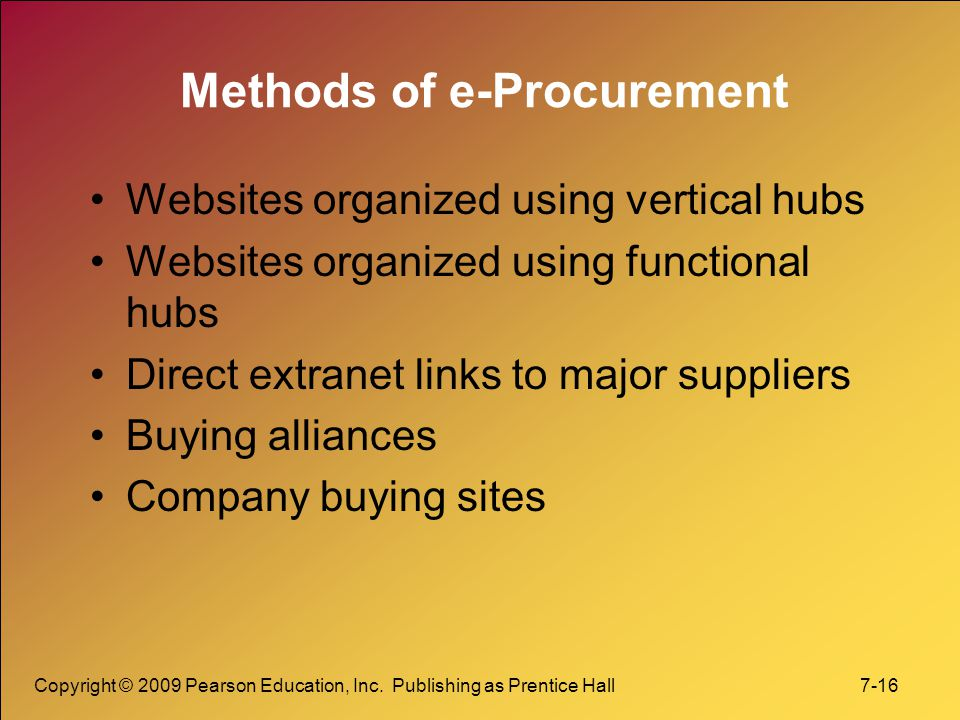 Copyright © 2009 Pearson Education, Inc. Publishing as Prentice Hall 7-16 Methods of e-Procurement Websites organized using vertical hubs Websites org