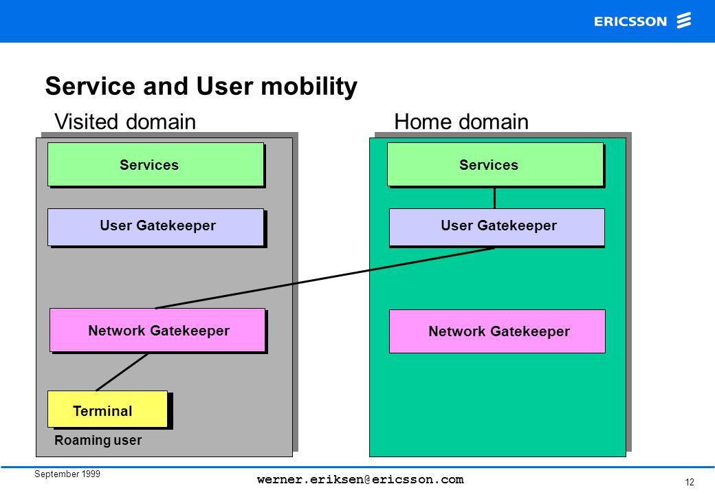 September 1999 werner.eriksen@ericsson.com 12 User Gatekeeper Network Gatekeeper Services Terminal User Gatekeeper Network Gatekeeper Services Roaming user Visited domainHome domain Service and User mobility