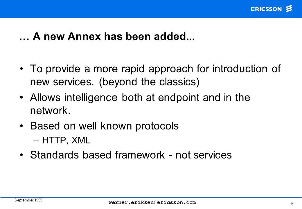 September 1999 werner.eriksen@ericsson.com 6 … A new Annex has been added...