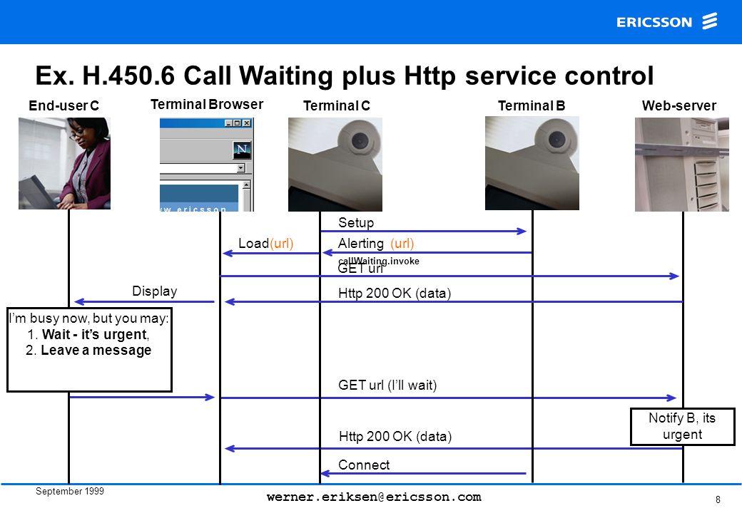 September 1999 werner.eriksen@ericsson.com 8 Ex. H.450.6 Call Waiting plus Http service control Terminal CTerminal B Setup End-user C GET url (I'll wa