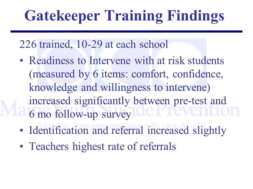 Gatekeeper Training Findings 226 trained, at each school Readiness to Intervene with at risk students (measured by 6 items: comfort, confidence, knowledge and willingness to intervene) increased significantly between pre-test and 6 mo follow-up survey Identification and referral increased slightly Teachers highest rate of referrals