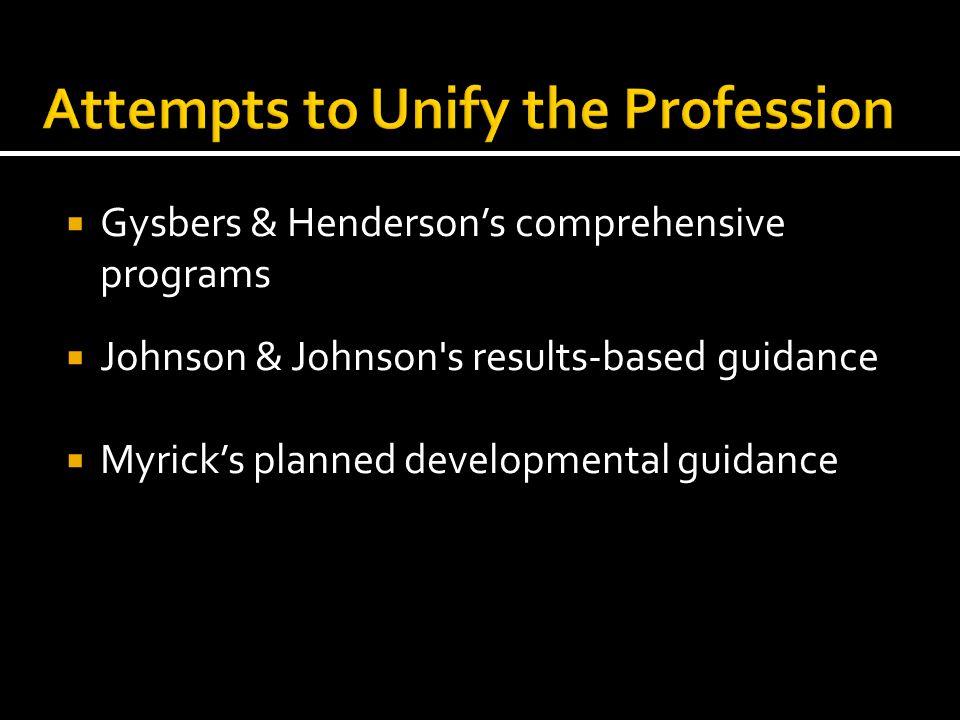  Gysbers & Henderson's comprehensive programs  Johnson & Johnson's results-based guidance  Myrick's planned developmental guidance