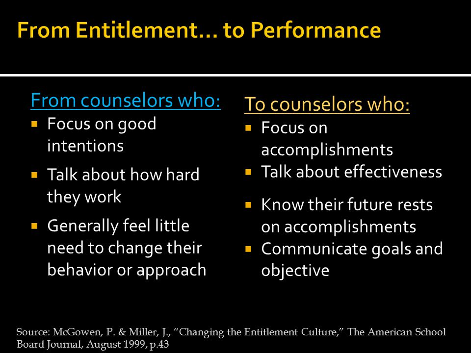 From counselors who:  Focus on good intentions  Talk about how hard they work  Generally feel little need to change their behavior or approach To counselors who:  Focus on accomplishments  Talk about effectiveness  Know their future rests on accomplishments  Communicate goals and objective Source: McGowen, P.