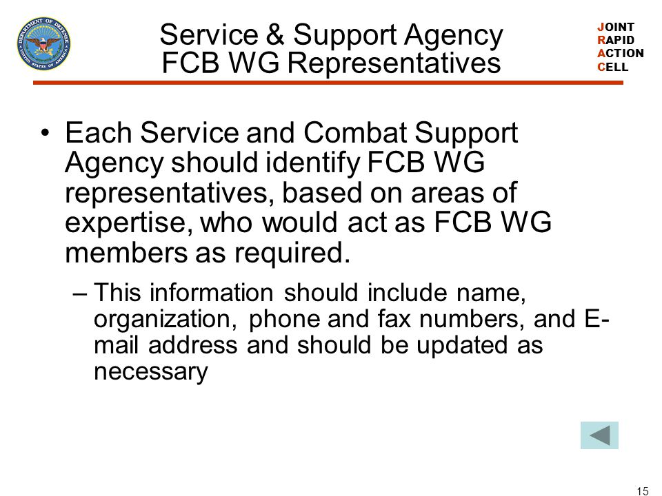 JOINT RAPID ACTION CELL 15 Service & Support Agency FCB WG Representatives Each Service and Combat Support Agency should identify FCB WG representativ