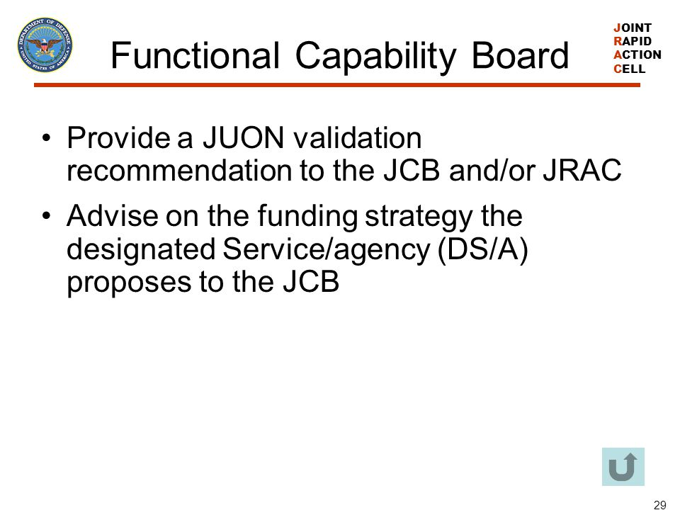 JOINT RAPID ACTION CELL 29 Functional Capability Board Provide a JUON validation recommendation to the JCB and/or JRAC Advise on the funding strategy