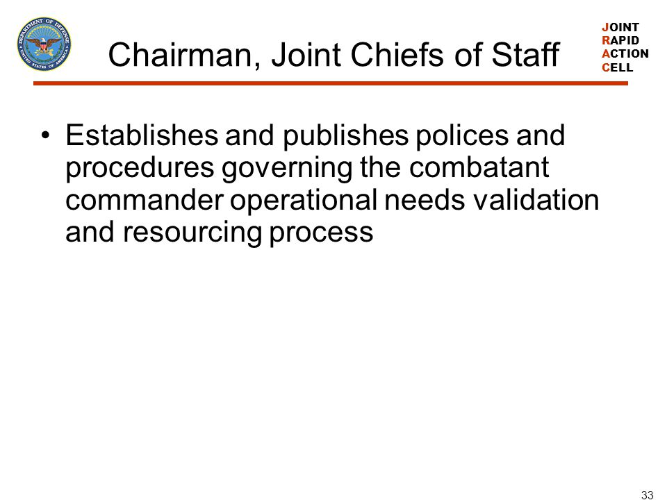 JOINT RAPID ACTION CELL 33 Chairman, Joint Chiefs of Staff Establishes and publishes polices and procedures governing the combatant commander operatio