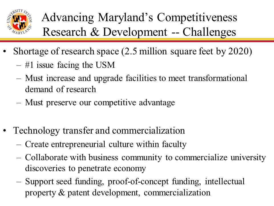 Advancing Maryland's Competitiveness Research & Development -- Challenges Shortage of research space (2.5 million square feet by 2020) –#1 issue facing the USM –Must increase and upgrade facilities to meet transformational demand of research –Must preserve our competitive advantage Technology transfer and commercialization –Create entrepreneurial culture within faculty –Collaborate with business community to commercialize university discoveries to penetrate economy –Support seed funding, proof-of-concept funding, intellectual property & patent development, commercialization
