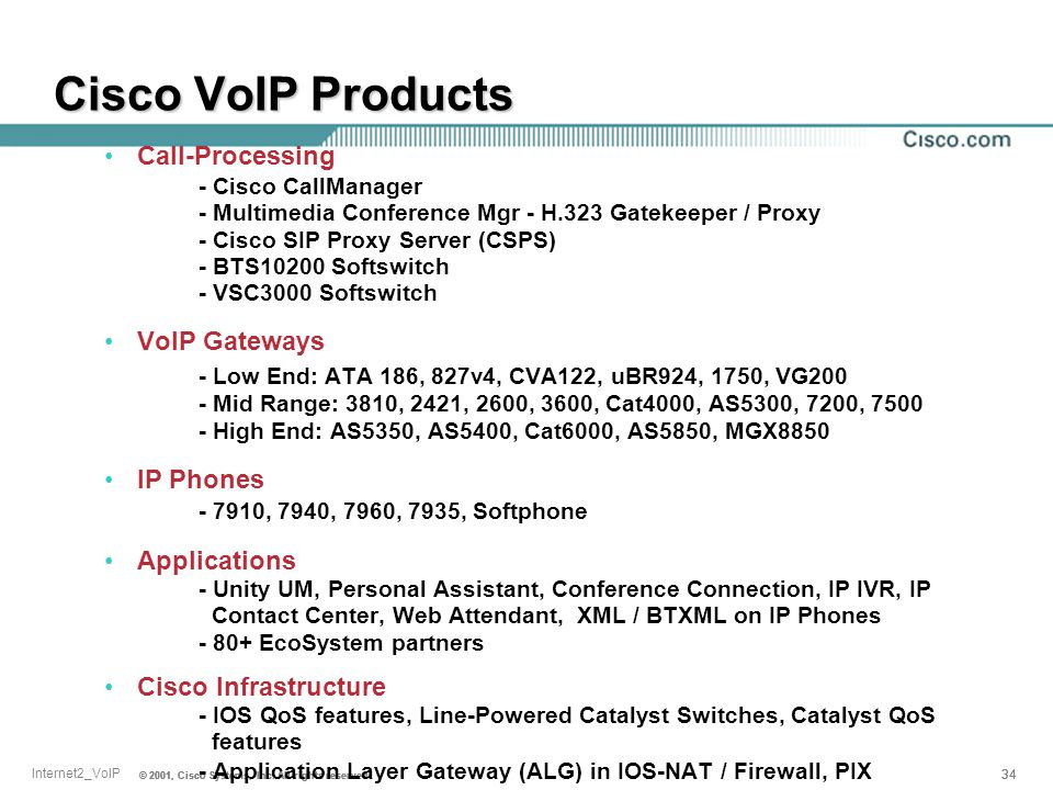© 2001, Cisco Systems, Inc. All rights reserved. 34 © 2001, Cisco Systems, Inc. All rights reserved. 34 Internet2_VoIP © 2001, Cisco Systems, Inc. All