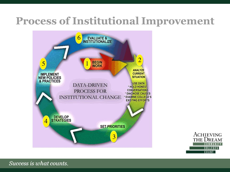 Success is what counts. Process of Institutional Improvement