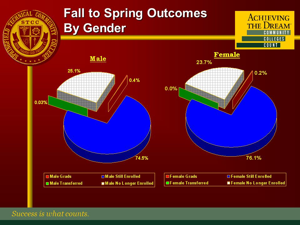 Fall to Spring Outcomes By Ethnicity Success is what counts.