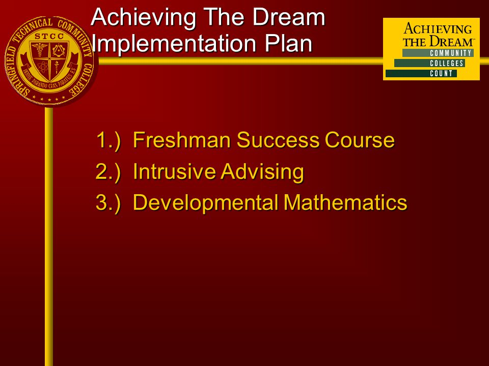 Achieving The Dream Implementation Plan 1.) Freshman Success Course 2.) Intrusive Advising 3.) Developmental Mathematics