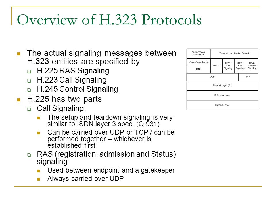 Overview of H.323 Protocols The actual signaling messages between H.323 entities are specified by  H.225 RAS Signaling  H.223 Call Signaling  H.245 Control Signaling H.225 has two parts  Call Signaling: The setup and teardown signaling is very similar to ISDN layer 3 spec.