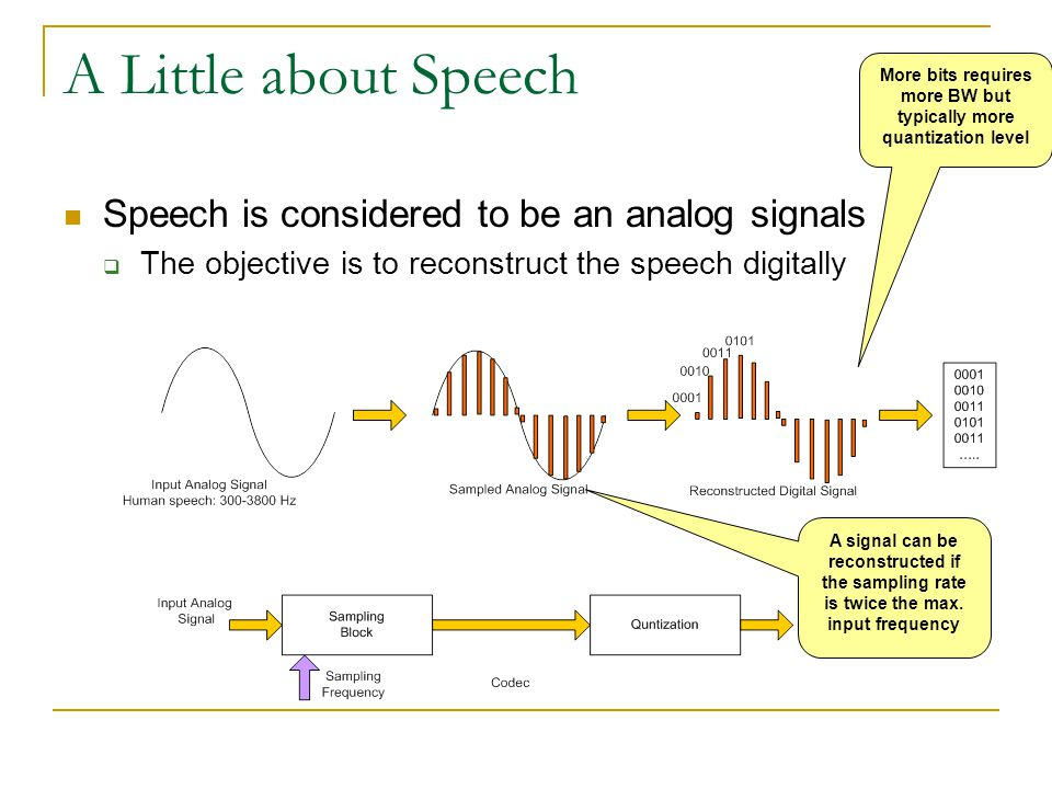 A Little about Speech Speech is considered to be an analog signals  The objective is to reconstruct the speech digitally A signal can be reconstructe