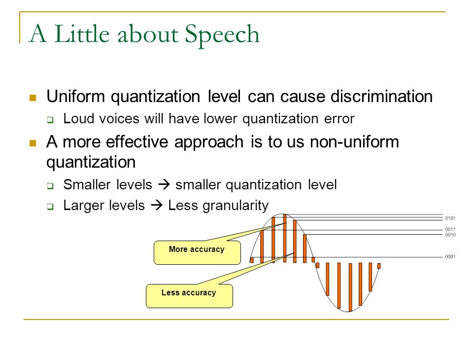 A Little about Speech Uniform quantization level can cause discrimination  Loud voices will have lower quantization error A more effective approach i