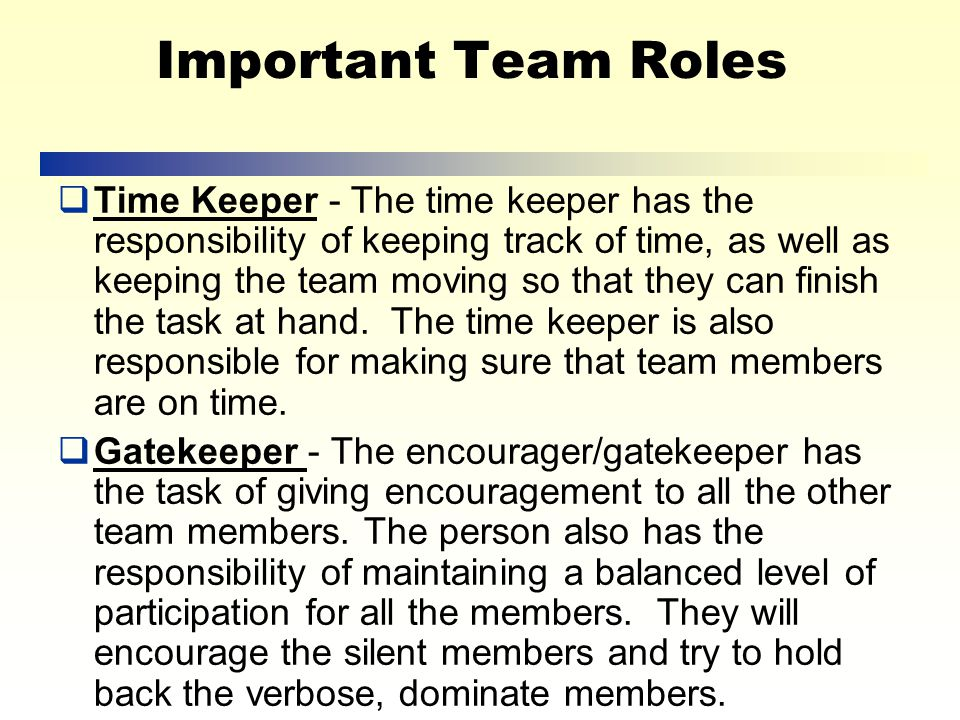 Important Team Roles  Facilitator - The facilitator is responsible for leading the discussion, keeping focus, and moving the meeting along.