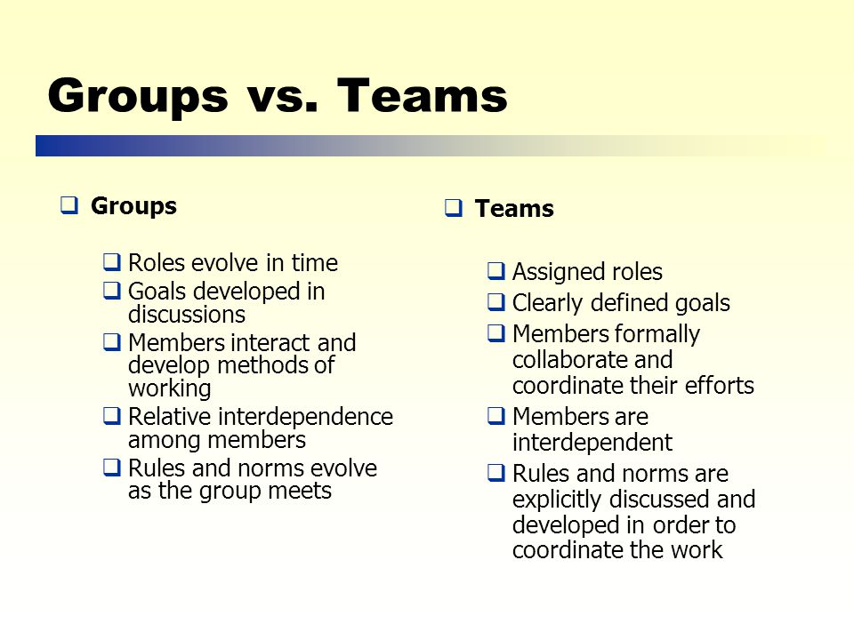 Groups vs.