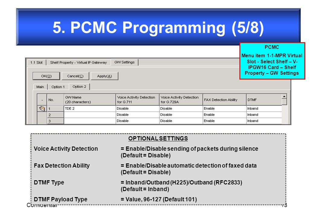 Confidential13 5. PCMC Programming (5/8) OPTIONAL SETTINGS Voice Activity Detection= Enable/Disable sending of packets during silence (Default = Disab