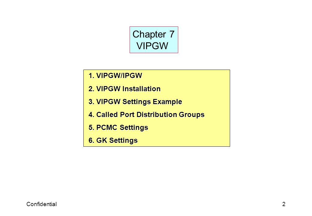 Confidential2 Chapter 7 VIPGW 1. VIPGW/IPGW 1. VIPGW/IPGW 2. VIPGW Installation 2. VIPGW Installation 3. VIPGW Settings Example 3. VIPGW Settings Exam