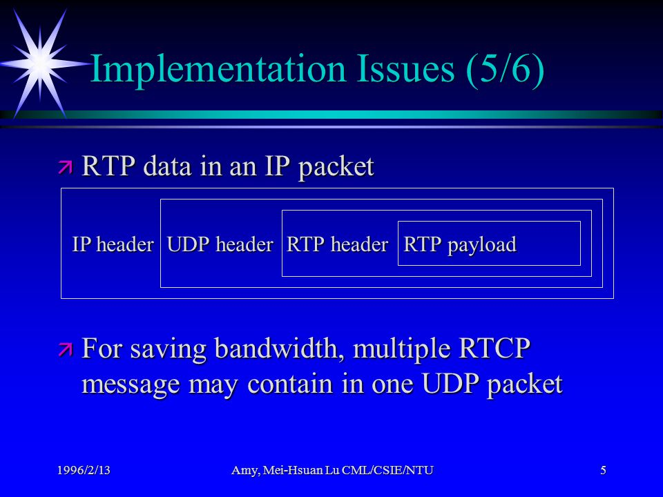 1996/2/13Amy, Mei-Hsuan Lu CML/CSIE/NTU5 Implementation Issues (5/6) ä RTP data in an IP packet IP header UDP header RTP header RTP payload ä For saving bandwidth, multiple RTCP message may contain in one UDP packet