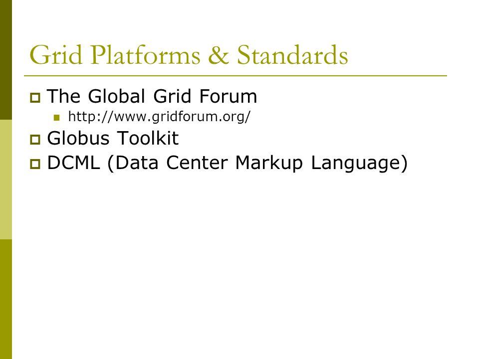 Grid Platforms & Standards  The Global Grid Forum http://www.gridforum.org/  Globus Toolkit  DCML (Data Center Markup Language)