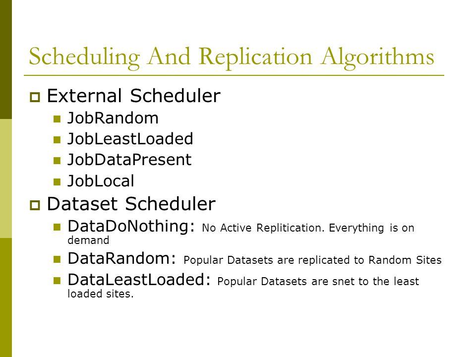 Scheduling And Replication Algorithms  External Scheduler JobRandom JobLeastLoaded JobDataPresent JobLocal  Dataset Scheduler DataDoNothing: No Active Replitication.