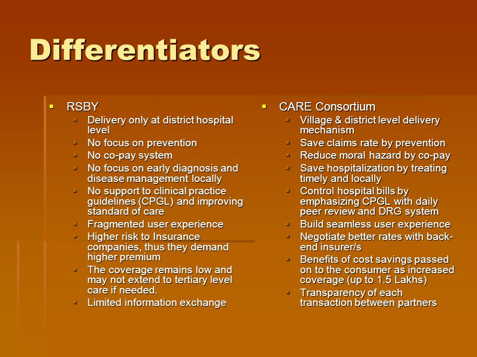 Differentiators  RSBY  Delivery only at district hospital level  No focus on prevention  No co-pay system  No focus on early diagnosis and disease management locally  No support to clinical practice guidelines (CPGL) and improving standard of care  Fragmented user experience  Higher risk to Insurance companies, thus they demand higher premium  The coverage remains low and may not extend to tertiary level care if needed.