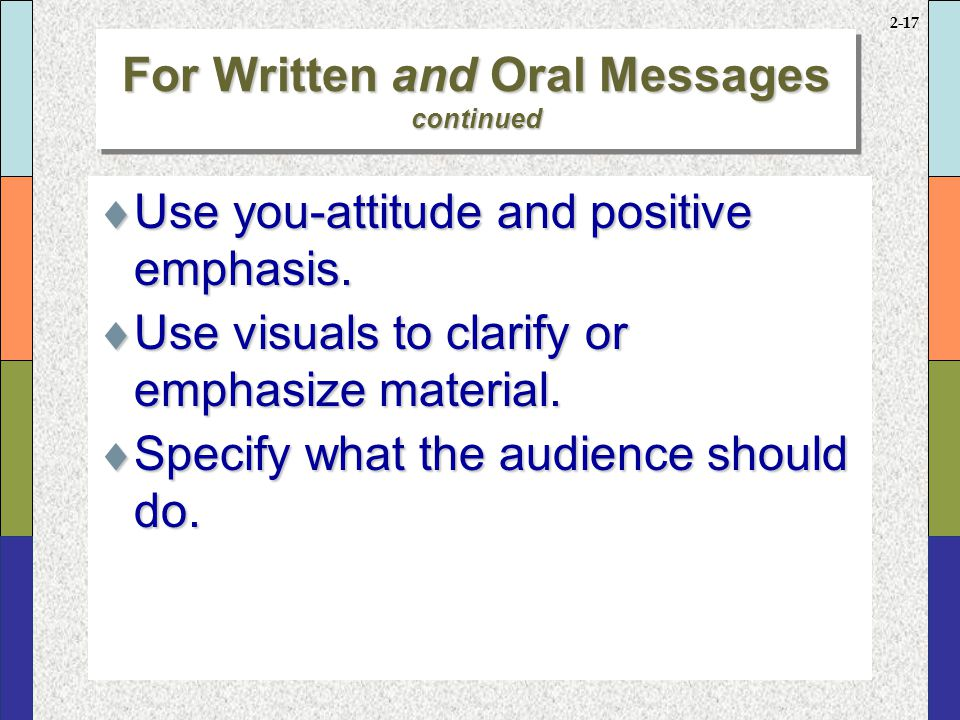 2-16 For Written and Oral Messages  Adapt the message to the audience.  Show the audience how it will benefit from the idea, policy, service, or pro